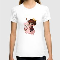 pasta T-shirts featuring Shining Visual Ulzzang Male God of the Pasta Galaxy by kittyinabarrel