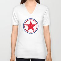 korea V-neck T-shirts featuring North Korea cocarde by Nxolab