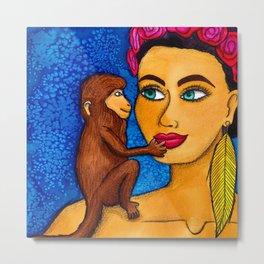 Bali Monkey Love Metal Print