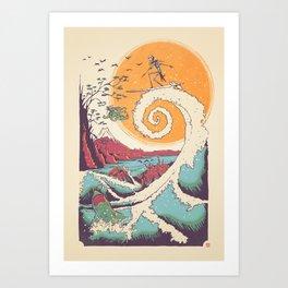 Surf Before Christmas Art Print