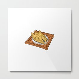 Illustration of a Japanese Snack - Fried Capelin Metal Print