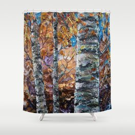 Birch Trees with Palette Knife by OLena Art for @society6 Shower Curtain