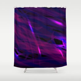 Rich purple and smooth sparkling lines of blueberry ribbons on the theme of space and abstraction. Shower Curtain