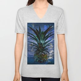 Silver Leaf Tropical Pineapple #buyart Unisex V-Neck