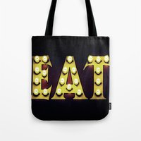 eat Tote Bags featuring EAT by mingtaphotography