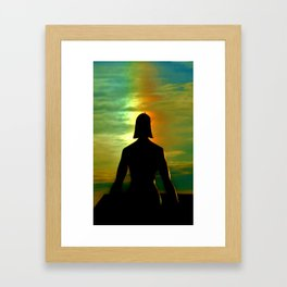 Male Female Statue with Rainbow Framed Art Print