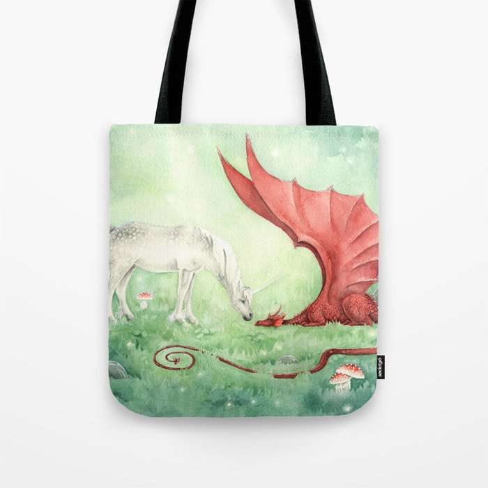 Unicorn and Dragon Tote Bag