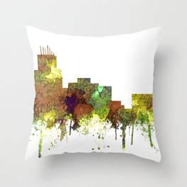 Durham, NC Skyline SG - Safari Buff Throw Pillow
