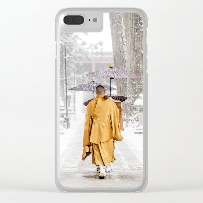 Japanese Buddhist Monks in Winter Clear iPhone Case