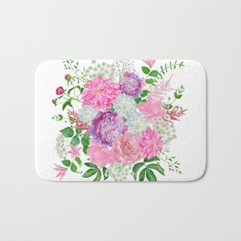 Pink bouquet of garden flowers Bath Mat