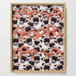 Funny Pug Pretzel Crazy Collage Serving Tray
