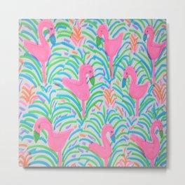 Flamingo Jungle Party Print Metal Print