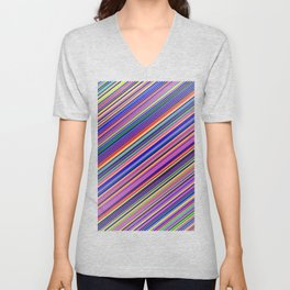 Striped Lines Color Harmony Textile Pattern Unisex V-Neck