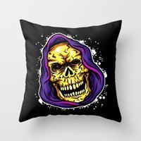evil Throw Pillows featuring EVIL by DesecrateART (Infected)