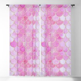 Pink Pearlescent Mermaid Scales Pattern Blackout Curtain