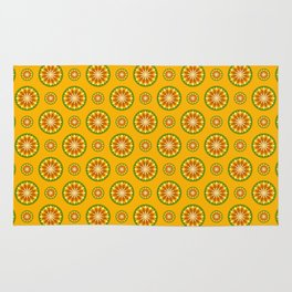 Orange Crush Retro Sunburst Print Seamless Pattern Rug