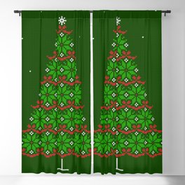 Fair isle knitted Christmas tree and snow Blackout Curtain