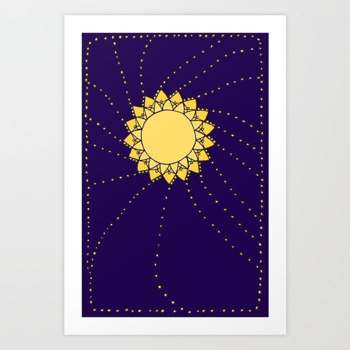 Celestial Swirling Sun Boho Mandala Hand-drawn Illustration Art Print