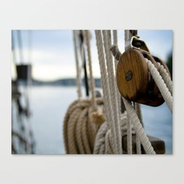 Wooden Boat Rigging Canvas Print