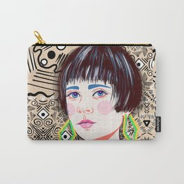 Brunette girl with large yellow earrings Carry-All Pouch