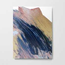 Rise: an abstract mixed-media landscape in blue pink and gold by Alyssa Hamilton Art Metal Print