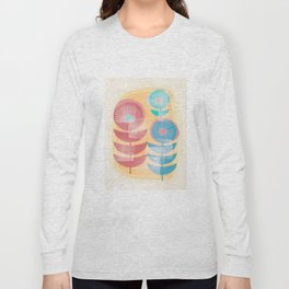 Three Flowers in Retro Style Long Sleeve T-shirt
