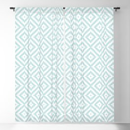 Aztec Block Symbol Ptn Blue & White II Blackout Curtain