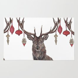 Stag with Baubles Rug
