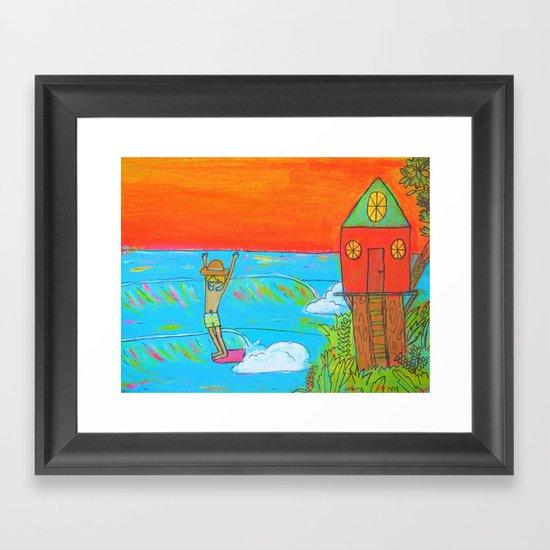 hang 10 surf dude tree house living Framed Art Print