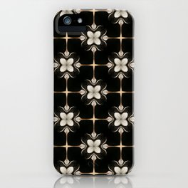 White and Black Floral Pattern iPhone Case