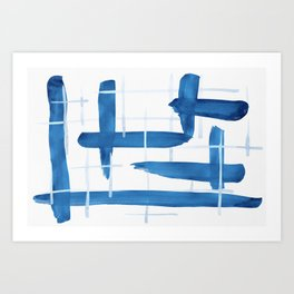 Abstract Lines Blue and White 04 Art Print