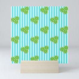 Lime Slices on Aqua Stripes Mini Art Print