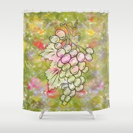 Bunch of grapes with colorful background Shower Curtain
