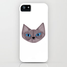 Grey Cat Head with Blue Eyes iPhone Case