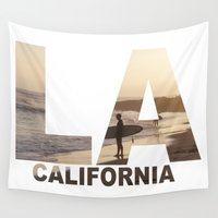 surfer Wall Tapestries featuring California Surfer by Maureen Bates Photography