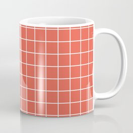 Fire opal - pink color - White Lines Grid Pattern Coffee Mug