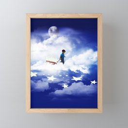 Star Boy Pulling Little Red Wagon Framed Mini Art Print