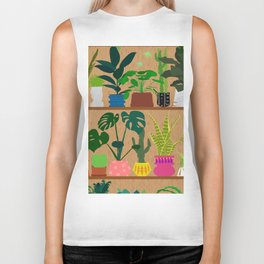 Plants on the Shelf in Warm Wood Biker Tank
