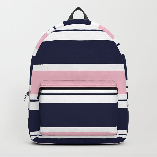 Blue Navy and Pink Stripes Backpack