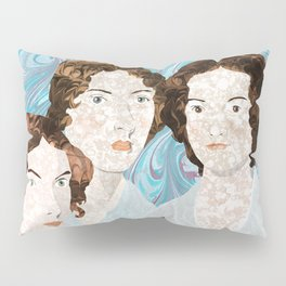 Bronte Sisters in Marbled Bookbinding Paper Pillow Sham
