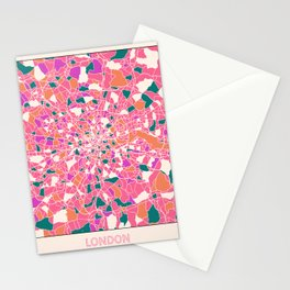 London England Colorful Map Stationery Cards
