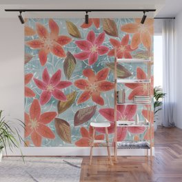Cute Lilies and Leaves Wall Mural