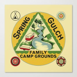 Vintage Retro Camping Spring Gulch Wanderlust Canvas Print
