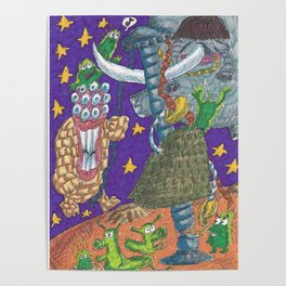 Alien May Day & Fire  Frogs Poster