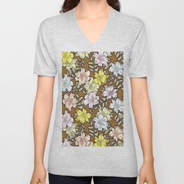 Abstract brown pink white modern floral pattern Unisex V-Neck