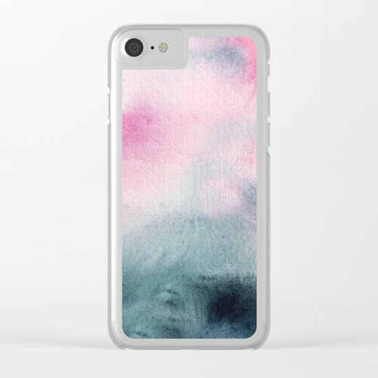 When indigo meets pink || watercolor Clear iPhone Case