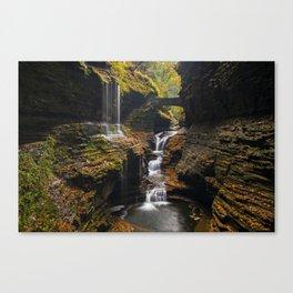 Rainbow falls and autumn foliage colors Canvas Print