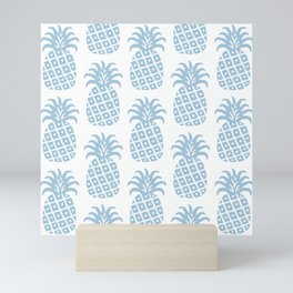 Retro Mid Century Modern Pineapple Pattern Pale Blue Mini Art Print