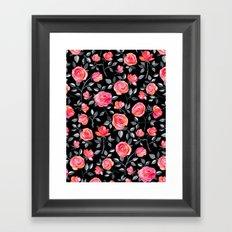 Roses on Black - a watercolor floral pattern Framed Art Print