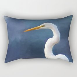 Painted Egret Rectangular Pillow